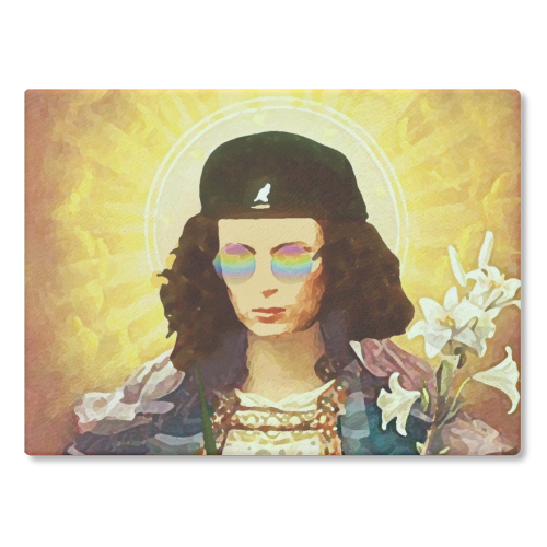 Patron Saint Of Fab - Edina - glass chopping board by Wallace Elizabeth