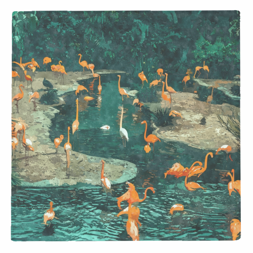 Flamingo Creek - personalised drink coaster by Uma Prabhakar Gokhale