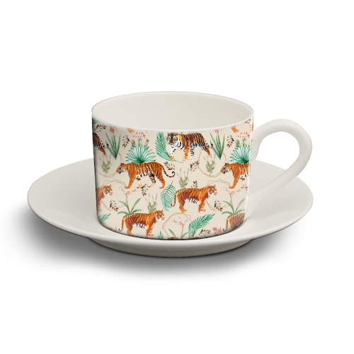 Tropical and Tigers - personalised cup and saucer by Uma Prabhakar Gokhale