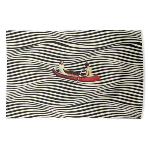 Illusionary Boat Ride - funny tea towel by taudalpoi