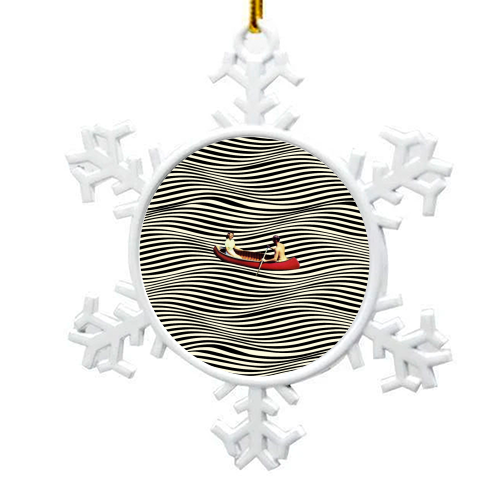 Illusionary Boat Ride - snowflake decoration by taudalpoi