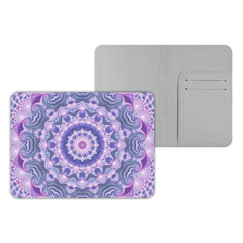 Pink and Purple Fractal Mandala - designer passport cover by Kaleiope Studio