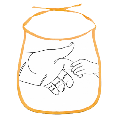 Child Holding Father's Finger Line Drawing - funny baby bib by Adam Regester