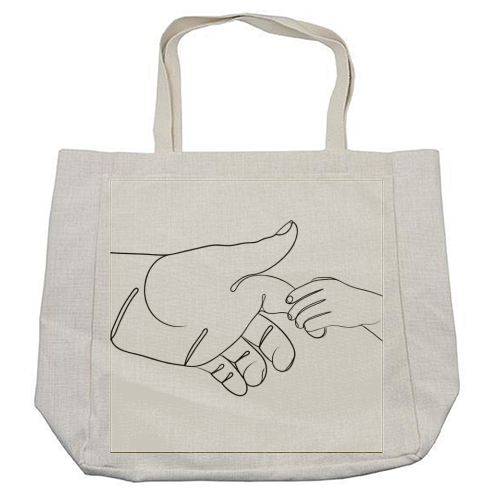 Child Holding Father's Finger Line Drawing - cool beach bag by Adam Regester