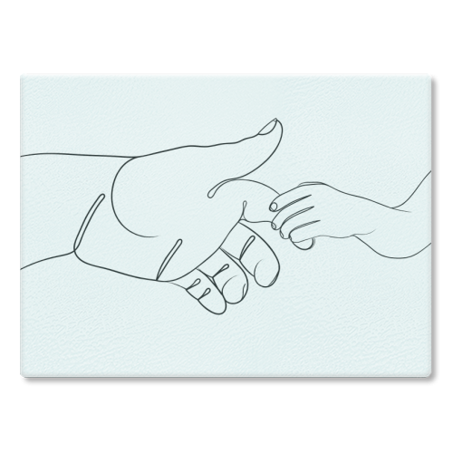 Child Holding Father's Finger Line Drawing - glass chopping board by Adam Regester
