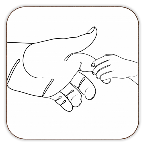 Child Holding Father's Finger Line Drawing - personalised drink coaster by Adam Regester