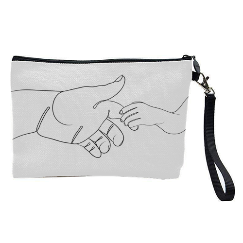 Child Holding Father's Finger Line Drawing - pretty makeup bag by Adam Regester
