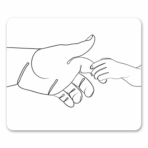 Child Holding Father's Finger Line Drawing - personalised mouse mat by Adam Regester