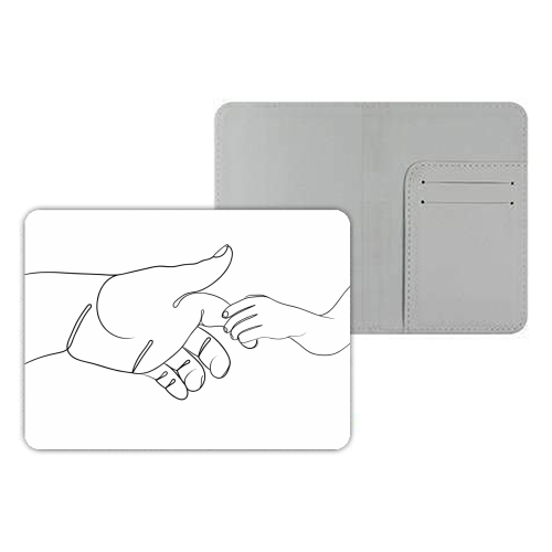 Child Holding Father's Finger Line Drawing - designer passport cover by Adam Regester