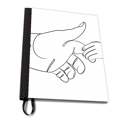 Child Holding Father's Finger Line Drawing - designed notebook by Adam Regester