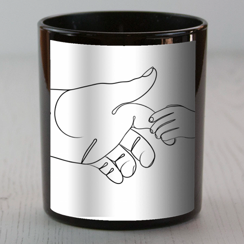 Child Holding Father's Finger Line Drawing - Candle by Adam Regester