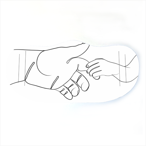 Child Holding Father's Finger Line Drawing - washable face mask by Adam Regester