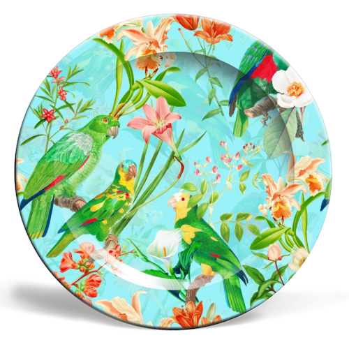 Tropical Bird and Flower Jungle - personalised dinner plate by Uta Naumann