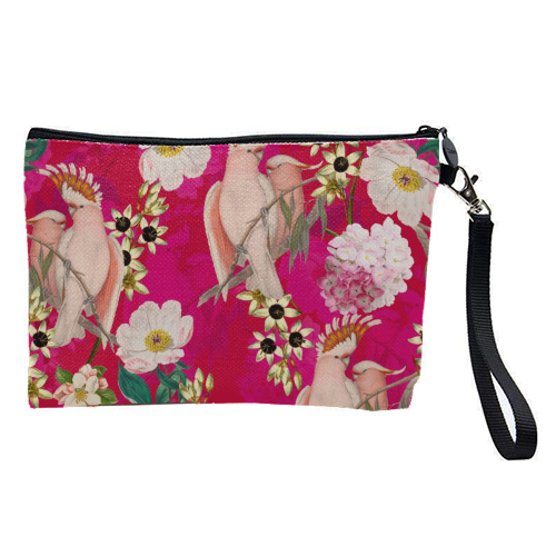 Pink Parrot and Tropical Flowers - pretty makeup bag by Uta Naumann