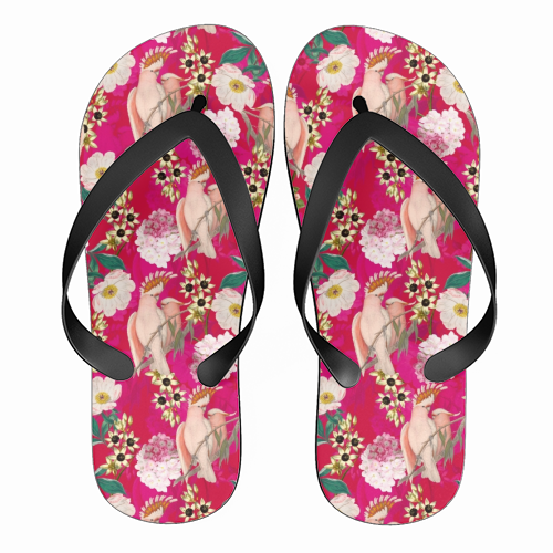 Pink Parrot and Tropical Flowers - funny flip flops by Uta Naumann