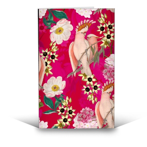 Pink Parrot and Tropical Flowers - funny greeting card by Uta Naumann