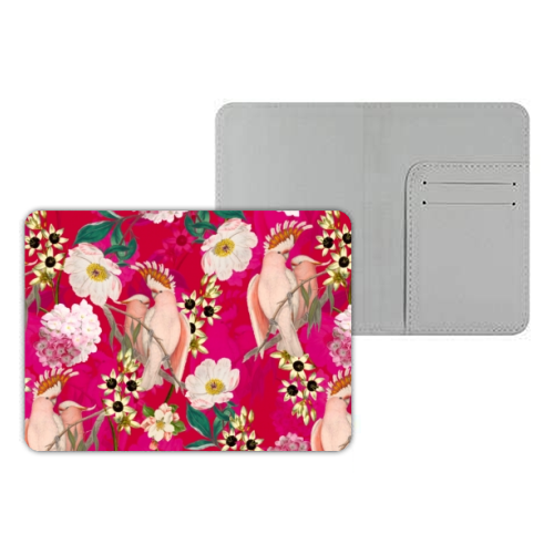 Pink Parrot and Tropical Flowers - designer passport cover by Uta Naumann
