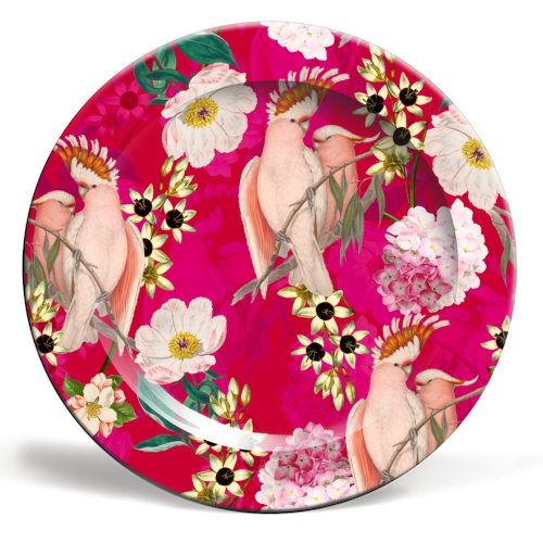 Pink Parrot and Tropical Flowers - ceramic dinner plate by Uta Naumann