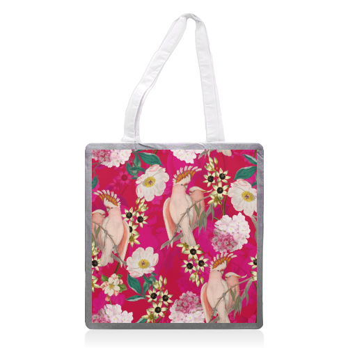 Pink Parrot and Tropical Flowers - printed tote bag by Uta Naumann