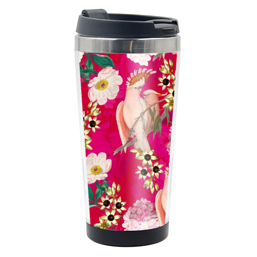 Pink Parrot and Tropical Flowers - travel water bottle by Uta Naumann