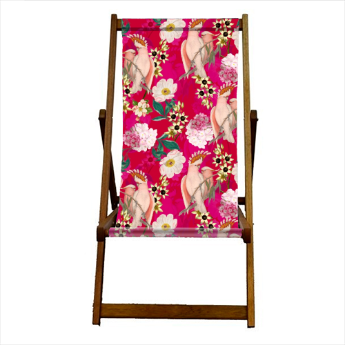 Pink Parrot and Tropical Flowers - canvas deck chair by Uta Naumann