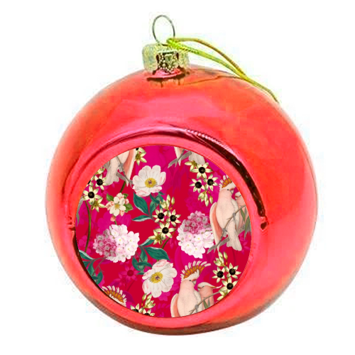 Pink Parrot and Tropical Flowers - colourful christmas bauble by Uta Naumann