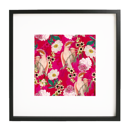 Pink Parrot and Tropical Flowers - printed framed picture by Uta Naumann