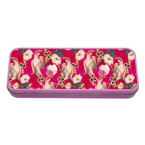 Pink Parrot and Tropical Flowers - tin pencil case by Uta Naumann