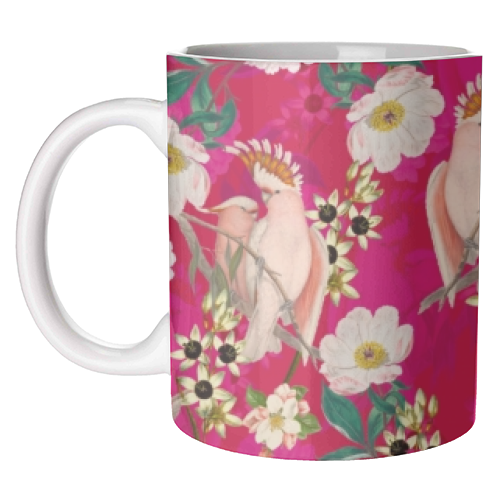 Pink Parrot and Tropical Flowers - unique mug by Uta Naumann
