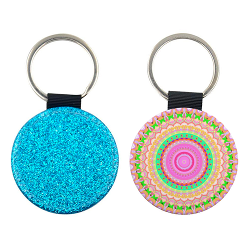 Funky Mandala - personalised picture keyring by Kaleiope Studio
