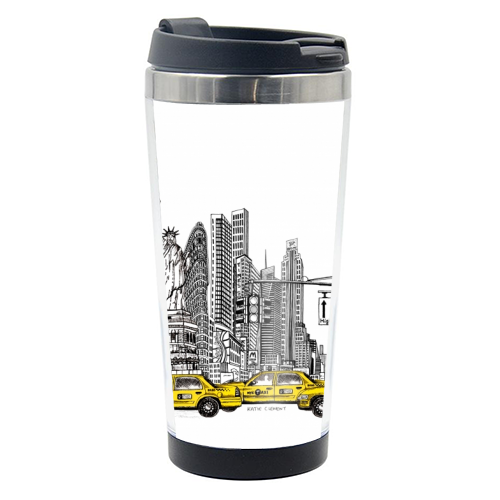New York City Skyline - travel water bottle by Katie Clement