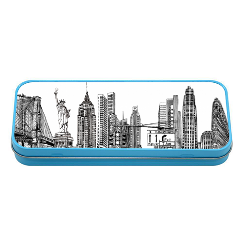 New York City Skyline - tin pencil case by Katie Clement