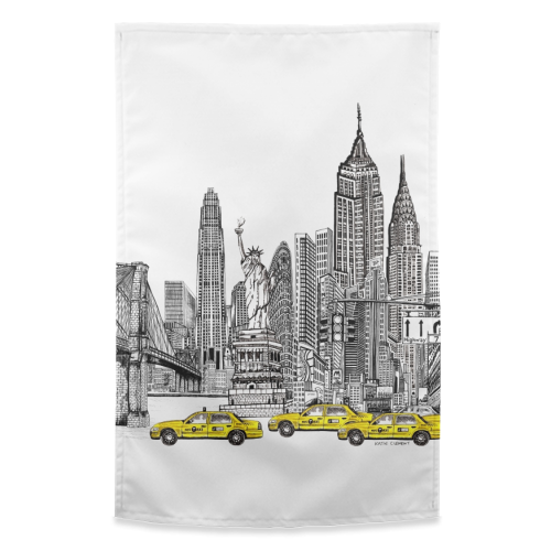 New York City Skyline - funny tea towel by Katie Clement
