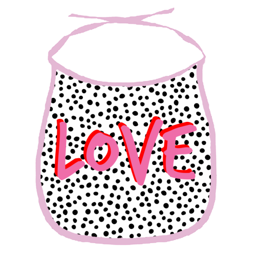 LOVE Polka Dot - funny baby bib by The 13 Prints