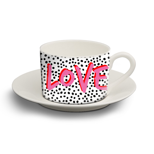 LOVE Polka Dot - personalised cup and saucer by The 13 Prints