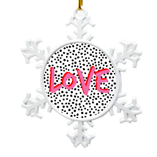 LOVE Polka Dot - snowflake decoration by The 13 Prints