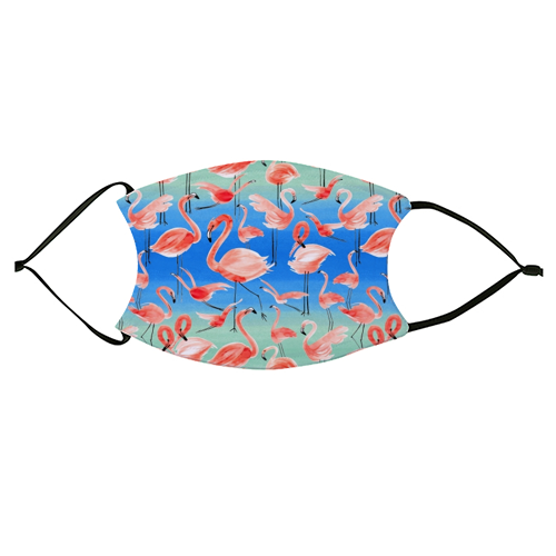 Cute Watercolor Pink Coral Flamingos - washable face mask by Ninola Design
