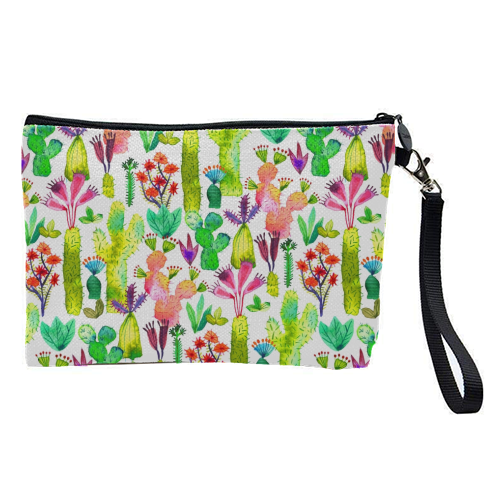 Watercolor Cute Cactus Garden - pretty makeup bag by Ninola Design