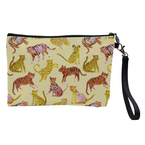 Safari Tigers and Leopards - pretty makeup bag by Ninola Design