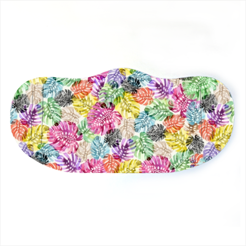 Monstera Tropical Watercolor Leaves - washable face mask by Ninola Design