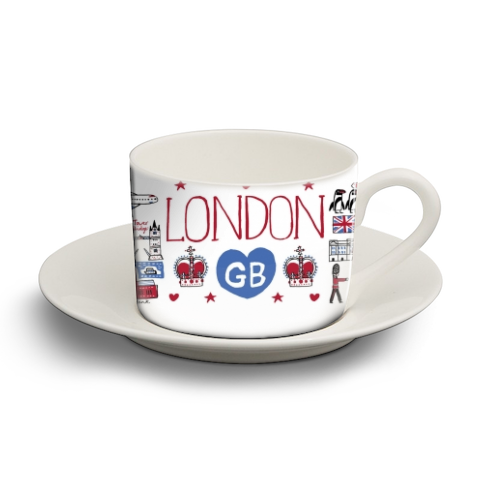 London - personalised cup and saucer by Julia Gash