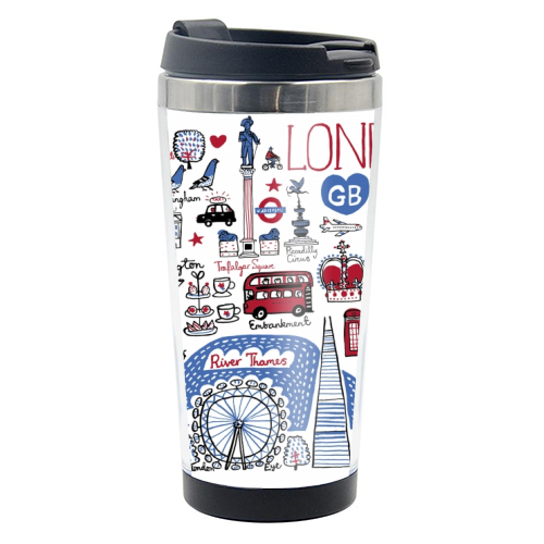 London - travel water bottle by Julia Gash