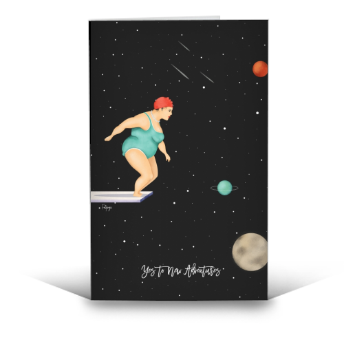 Yes To New Adventures - funny greeting card by Fatpings_studio