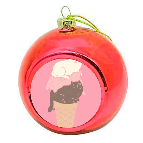 Cat Ice Cream - colourful christmas bauble by Tess Shearer