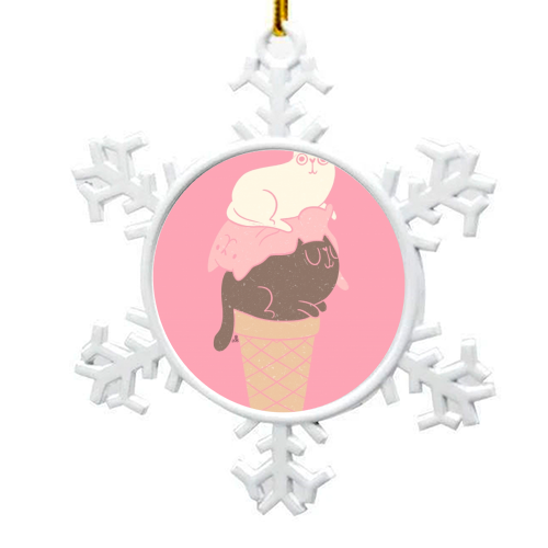 Cat Ice Cream - snowflake decoration by Tess Shearer