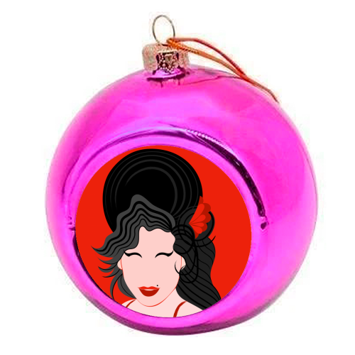 Amy Winehouse Minimal Portrait - colourful christmas bauble by Adam Regester