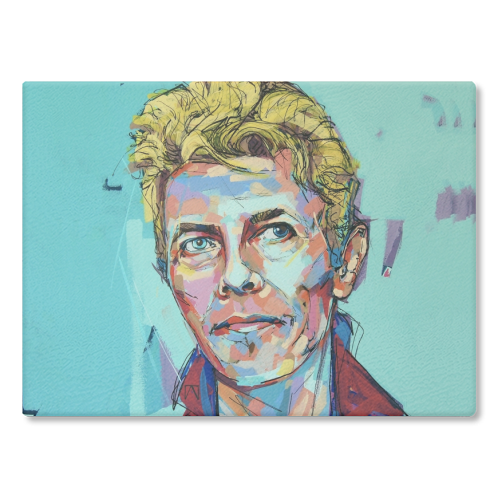 Hopeful Bowie - glass chopping board by Laura Selevos