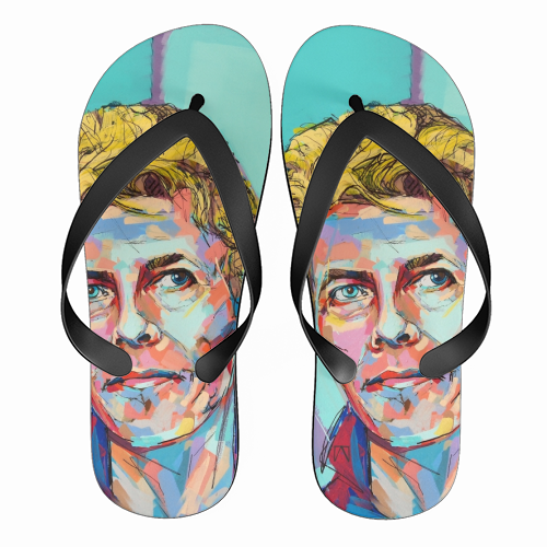 Hopeful Bowie - funny flip flops by Laura Selevos