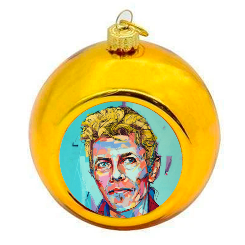 Hopeful Bowie - colourful christmas bauble by Laura Selevos