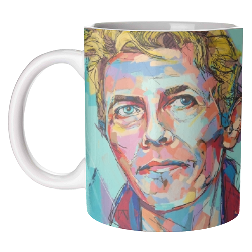Hopeful Bowie - unique mug by Laura Selevos